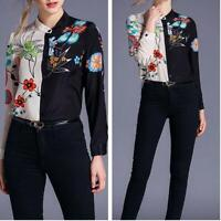 European Women Asymmetric Floral Printed Long Sleeve Tops Shirts Fashion Blouses