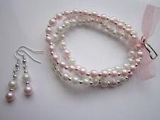 3 Pearl Stretch Bracelets  & Drop Earrings - Heart Charm - Pink & White