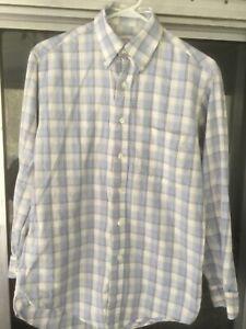 Vintage Brooks Brothers Men's S Plaid The Original Polo Shirt Button Long Sleeve
