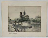 Vintage Franz Herbelot Paris Le De La Cité Litho Watercolor Print FoundArtShop