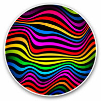 2 x Vinyl Stickers 7.5cm - Rainbow Waves Stripes Psychadelic Cool Gift #15598