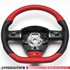 S-LINE Aplati Cuir Volant Multifonction Volant en Cuir Rouge-Noir Audi A3 A5 Q7