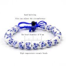 Blue Flower Porcelain Tibet Buddhist Prayer Beads Mala Bracelet