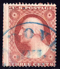#26A - 3 Cents 1857, 91R10e, with Centerline at Left, Blue JUL-dated CDS, thin