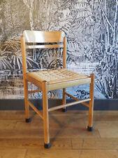 Chaise vintage design 1960-BOIS clair-assise en corde