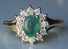 Macy's 10k Gold Ring, Emerald (7/8 ct. t.w.) & White Diamond Accent Ring Sz 8