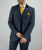Mens Business Blue Tweed Check Peaky Blinders Wedding Lined Fitted 3 Piece Suit