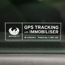 4 VEHICLE SECURIY ALARM DEVICE STICKERS  Decals - Anti Theft GPS System WARNING