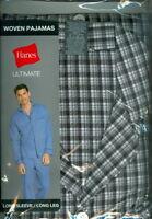 Hanes ~ Men's Woven Pajamas Set ~ Long Sleeve / Long Leg ~ Size Small ~ NIP