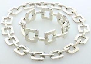 Jondell Ent. Inc. Mexico Sterling Silver 925 Square Link Necklace & Bracelet Set