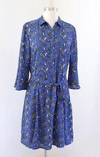 NWT Banana Republic Blue Paisley Print Bell Sleeve Tie Belt Shirt Dress Size 12P