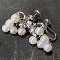 Vintage Japanese Cultured Pearl Grape Vine Earrings akin to Mikimoto