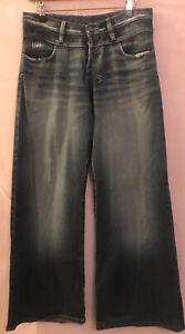 10 TSUBI KSUBI $400 Vintage Superwash Distressed Wide Leg Blue Jeans Light Use