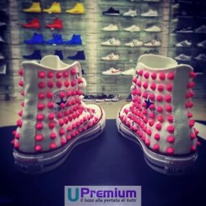 Converse All Star Fluorescent Pink [Product Customized] Shoes Studded Handmade