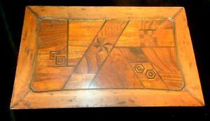 Vintage Arts & Crafts Inlaid Birds Eye Maple Travel Desk with Copper Handles
