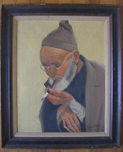 Vintage Mid-Century Jewish Elder w/ glasses smoking OoC Irene Shein,Period Frame