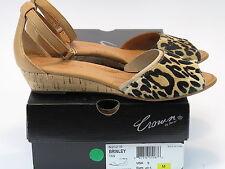 CROWN by BORN Women's BRINLEY Tan/Cheetah Ankle Strap Sandal US 9 M #N20216