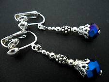 A PAIR OF SILVER PLATED  BLUE CRYSTAL   BEAD CLIP ON EARRINGS. NEW.