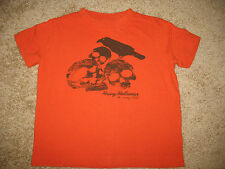 Boys' size XS Old Navy Short Sleeve Halloween T-Shirt Top Orange Skulls Crow