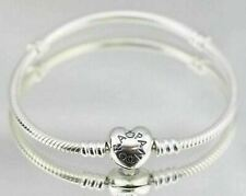 New Genuine Silver Pandora Moments Heart Clasp Charm Bracelet 590719 16cm- 23cm