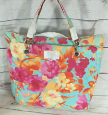 Jenifer Lopez Multi Flower Print Summer Beach Cotton Shopper Tote Bag