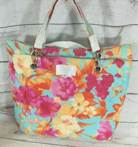Jenifer Lopez Multi Flower Print Summer Beach Cotton Shopper Tote Bag