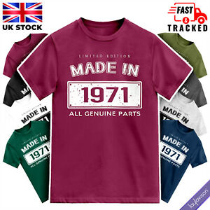 Adults 50th Birthday Made in 1971 All Genuine Parts T-Shirt Mens BDay Tee Top