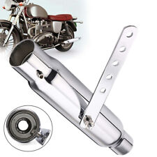 """Universal 12"""" Retro Motorcycle Exhaust Pipe Tip Silver Iron Tube Cafe Racer Bike"""