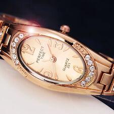 Classic Rose Gold Crystal Quartz Bracelet Oval Face Women Dress Wirst watches