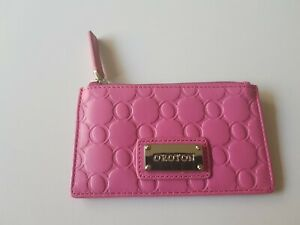 OROTON PINK LEATHER EMBOSSED CARD HOLDER - NEW -AUTH