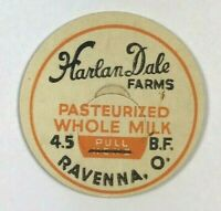 Vintage Milk Bottle Cap Harlan Dale Dairy Farms Whole Milk Ravenna Ohio O.