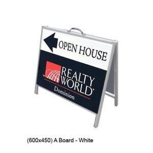 450x600mm Plain STEEL METAL Mini AFRAME Real Estate A-board Footpath BOARD white