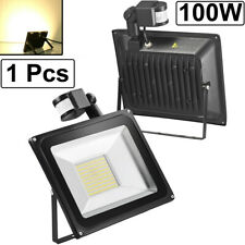 100W Pir Motion Sensor Led Flood Light Warm White Outdoor Wall Security Lamp