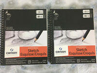 """Canson (2) 100 Sheet Sketch Pad Notebook 9"""" X 12"""" Sketchbook Drawing Pencil Art"""