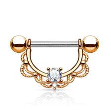 "Pair of CZ Fligree 14K Gold Plated Surgical Steel Nipple Rings Barbells 14G 5/8"""