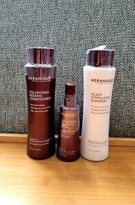Keranique Scalp Stimulating Shampoo, Volumizing Conditi 12oz & Lift Repair Spray