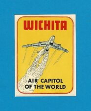 "VINTAGE ORIGINAL 1951 ""AIR CAPITOL OF THE WORLD"" WICHITA KANSAS DECAL ART NICE"