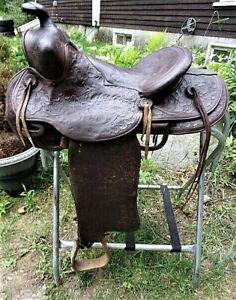 """Antique vintage used 14.5-15"""" JC Higgins padded seat hand carved Western saddle"""