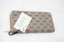 "BNWT Grace Brown Weave Design  Large Zip Around Purse Wallet 7.5"" x 4"" x 1"" ins"