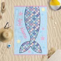 Personalised Mermaid Towel Microfibre Beach Towel Sun Bathing Pool Swim