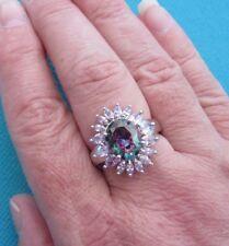 925 Silver Ring With Rainbow Topaz & Tourmaline UK U 1/2, US 10.25 (rg1944)