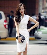 Brand New Women White Cheongsam Like Career Work Dress 10 12 AU