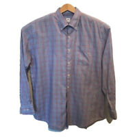 Peter Millar Mens Oxford Shirt Purple Blue Plaid Long Sleeve Pocket Cotton XL