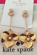 NWT Kate Spade 100% Authentic Gold Rose pick a posy linear Earrings