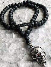 Halskette totenkopf Onyx Edelstein Edelstahl skull Necklace Rosenkranz Biker neu