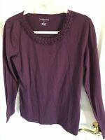 Woman's Talbots size medium purple embellished long sleeve cotton blend top
