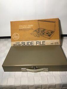 LOGAN Metal Deluxe Slide File No 215 original box & Vintage Boy Scout Slides D05