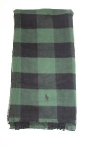 Polo Ralph Lauren Green And Black Buffalo Plaid Scarf 100% Cotton NWT