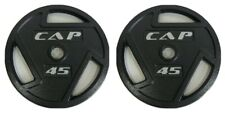 """45 Lb Olympic Cast Iron Plate 2"""" Set of 2 90lb Total Set Barbell Weight CAP"""