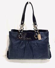 COACH Ashley Ashley Navy Blue Leather Signature Satchel Bag~F19455